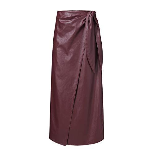 Falda Midi De Mujer,Elegantes Faldas De Cuero De Color Burdeos De La Vendimia De Las Mujeres De Cintura Alta Con Botones Divididos Con Cordones Faldas Midi Bata Tallas Grandes Pantalones Casua