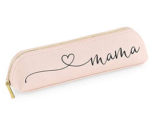 Geschenk zum Muttertag Mäppchen personalisiert rosa oder grau gegen Unordnung in der Handtasche Stifteetui personalisiert