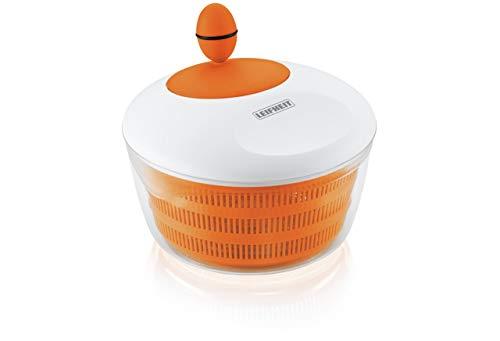 Leifheit Salatschleuder Colour Edition Orange, für Rechts- und Linkshänder, trendige Salatschüssel zum Servieren, Küchenhelfer in trendiger Farbe