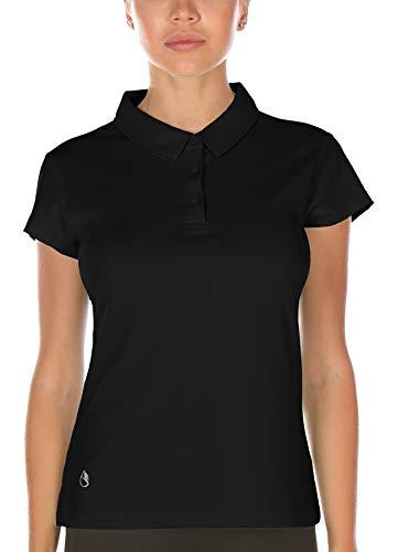 icyzone Damen Poloshirt Atmungsaktiv Fitness Sport Kurzarm Shirt (S, Schwarz)