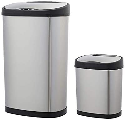 AmazonBasics Automatic Trash Can Set -12 Liter and 50 Liter, Stainless Steel