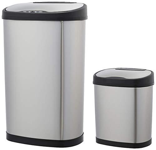 AmazonBasics - Set de cubos de basura automáticos, de acero inoxidable, 12...