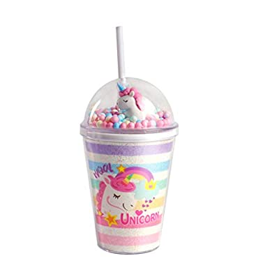 PROTAURI 380ml Vaso de Plástico con Tapa y Paja - Unicornio Taza para Beber Taza de Café con Hielo de Doble Pared Aislada para Jugo Cóctel Zalamero/Niños y Adultos