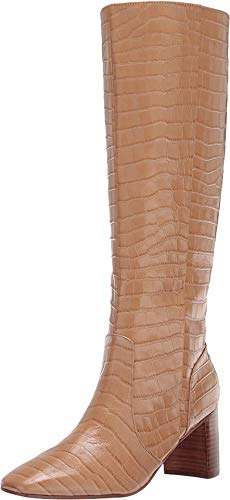 Marc Fisher Womens Revely Leather Square Toe Knee-High Boots Tan 6 Medium (B,M)