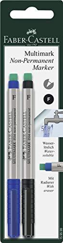 Faber-Castell 159599  - Marker MULTIMARK non-permanent, Stärke: F, 2er Packung,  blau und schwarz