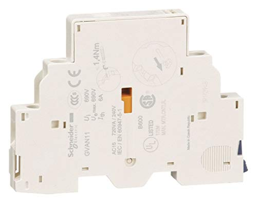 Schneider Electric Auxiliary Contact, 6 Amps, Instantaneous Type, Side Mounting