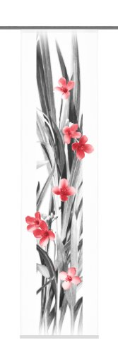 Home Fashion 87740 – 707 Decorativa Iowa – Panel japonés con impresión Digital Panel rieles y sujeciones, 245 x 60 cm, diseño de Flores, Color Rojo