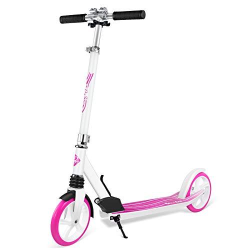 BELEEV Monopattino Adulti, Pieghevole e con Altezza Regolabile, PU Big Wheel 200mm, City Kick Scooter per Adulto & Adolescente (Rosa)
