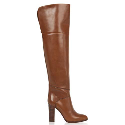 Okeak Frauen Chunky Hohe Stiefel mit Absatz über das Knie Stiefel hoch Round Toe Reitschuhe...