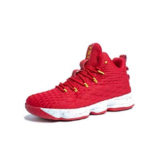 Zapatos Hombre Deporte de Baloncesto Sneakers de Malla para Correr Zapatillas Antideslizantes Negro Rojo Champán Verde Brillante 36-46 Rojo 44