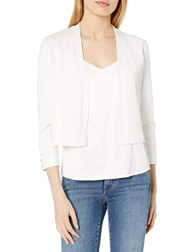 Tommy Hilfiger Women's Button Sleeve Shrug, Ivory, X-Large