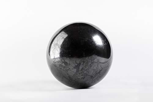 SN NATURSTEIN UG - Esfera Shungit pulida 10 cm | Gema y piedra curativa originaria de Carelia - Protección contra radiación EMF