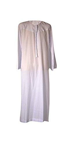 Desert Dress - Tunique Marocaine Homme Thobe Emirats Arabes Oman Dishdasha Désert Arabe Afghane Saoudienne - 72, Blanc