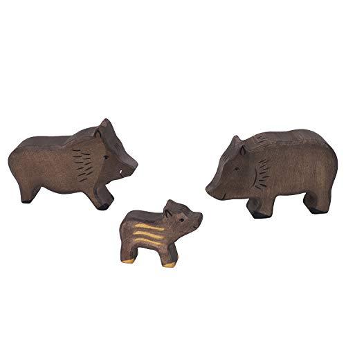 cama24com Holztiger Wildschwein Set mit 3 Holzfiguren Eber Bache Frischling Holzspielzeug Holztiere mit Palandi® Sticker