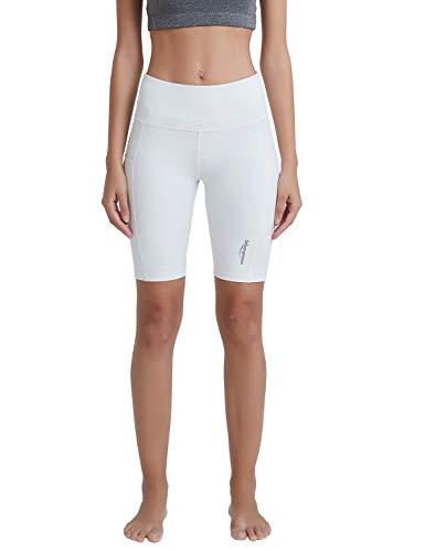COOLOMG Damen Shorts Leggings Caprihose Yoga Sport Training Fitness mit Taschen ,Weiß (kurz),XL