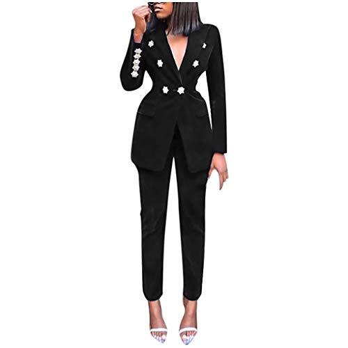 SOMESUN Damen Business Hosenanzuge Slim Fit Blazer V-Ausschnitt Reverskragen Karriere Hosen Anzug Set