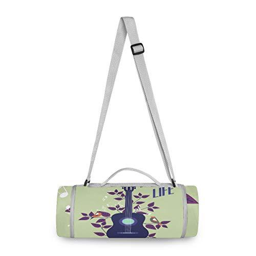 BEUSS Vogel Musik Gitarre Picknickdecke wasserdicht Kreative Runde Picknick-Matte Kampierende Strand Yoga Decken Matten im Freien Faltbar Leicht Matte Decke mit Tragegriff (148cm x 148cm)