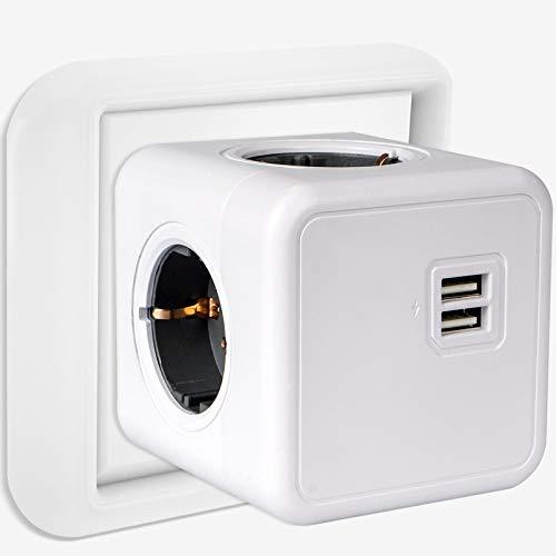 USB Steckdose, 4 Steckdosen mit 2 USB Anschluss, 6-in-1 Steckdosenadapter mit USB Ladegerät, kompatibel für Haushaltsgerät, Smartphone, usw und verschiedene Elektrogeräte