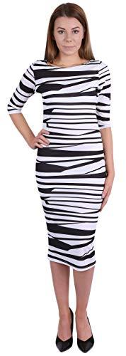 John Zack Czarno-biała sukienka midi Zebra