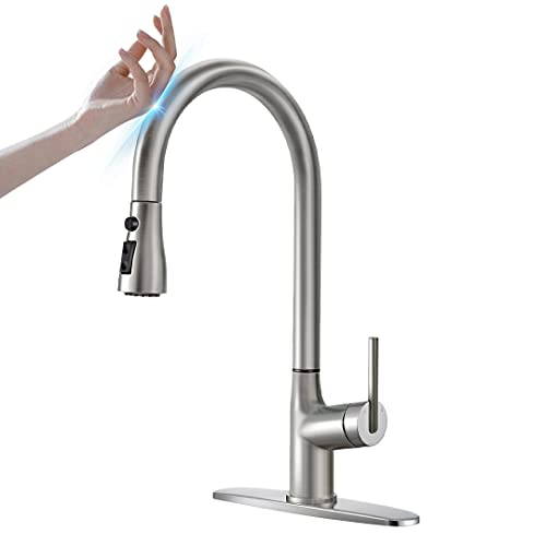 Touch Kitchen Faucet , ARRISEA Single Handle Brass Pull Down Sprayer Kitchen Sink Faucet with Pull Down Sprayer, Brushed Nickel Swan 360 Degree Swivel Sink Faucet with Deck Plate,Updating New Sprayer