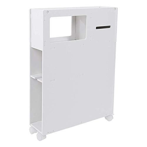 L.BAN Toalettskåp, badrumsskåp med servetthållare, smal sida förvaringshylla, fristående vattentätt smalt skåp med lådor, avtagbar organisatör vit