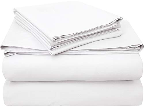 Bumble Towels Classic Luxury USA Pima Cotton Percale 4 Piece Bed Sheet Set - 100% USA Pima Cotton - Ultra Crisp, Smooth Finish Plush Sheets (Queen, White)