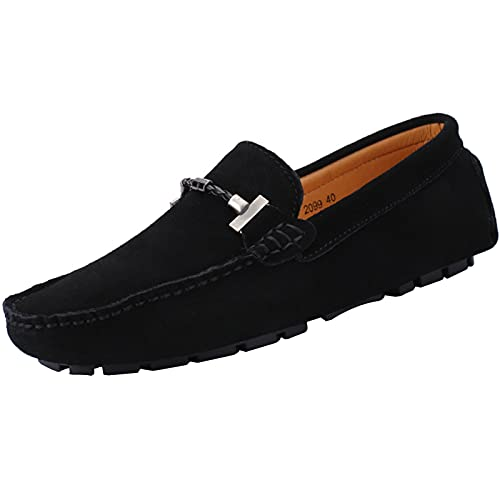 yldsgs Flat Loafer for Men Suede Leather Slip-on Dress Driving Moccasins Casual Boat Shoes Black 10/44