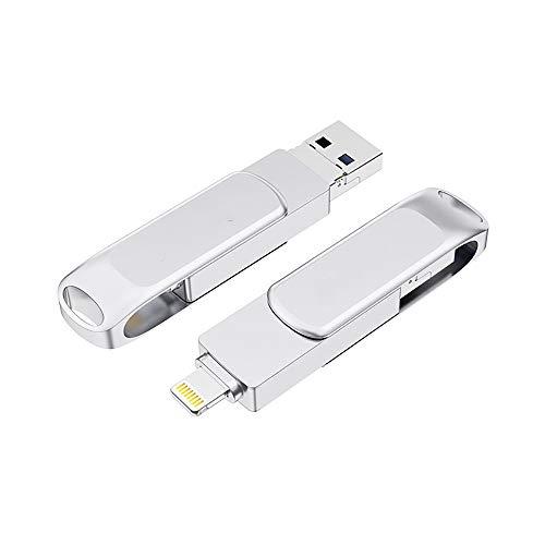 DHTOMC Unidades Flash USB Teléfono móvil Personalizado Memory Stick Unidad Flash USB de Alta Velocidad 3.0 Rotación de Tres-en-uno Pen Drive Unidad Zip (Color : Silver, Size : 16G)