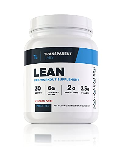 Transparent Labs Lean Pre-Workout, BCAA, Amino Acids, Keto Friendly, Energy Powder, Stamina, Muscular Strength & Muscular Endurance, Tropical Punch, 30 Servings