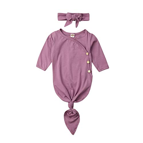 Newborn Baby Boy Girl Pajamas Long Sleeve Knotted Romper Nightrowns Sleeping Bags Sleeper Gown Fall Winter Clothes (0-3 M, Pink)