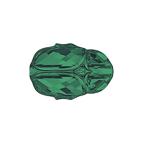 1 perla de cristal de Swarovski con diseño de Scarab de 12 mm, color esmeralda