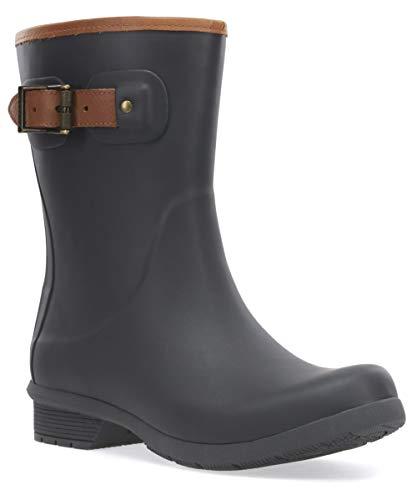 Chooka Women's Mid-Height Memory Foam Rain Boot, Charcoal, 8 M US