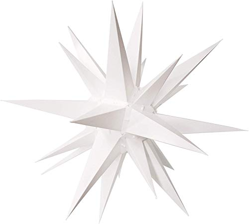 "Elf Logic - 12"" Moravian Star Christmas Tree Topper, Beautiful Bright White Bethlehem Star - use as a Crown Christmas Tree Topper, Indoor Holiday Light Fixture, or 3D Advent Star (Incandescent)"