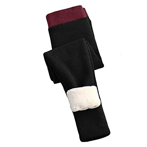 Orgrul Leggings elásticos para mujer, pantalones cálidos, forro polar, gruesos, con forro de felpa, opacos, leggins térmicos, Negro , XXXXL