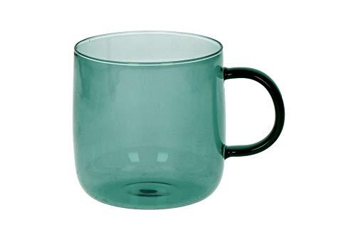 POMAX Boite de 4 tasses en verre borosilicaté Lasi | Lot de 4 tasses en verre Bleu Sarcelle