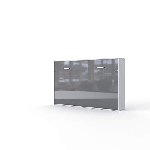 Invento Schrankbett Wandklappbett Horizontal Wandbett Bettschrank Funktionsbett Gästebett Klappbar Schrank mit integriertem Klappbett Gästezimmer Wohnzimmer Schlafzimmer 120x200 (Weiß/Grau Glanz)