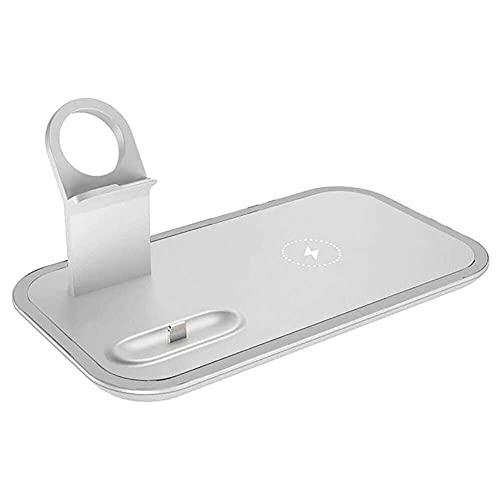 qiaohuan shop Cargador inalámbrico 3 en 1 de 10 W de carga rápida para iPhone 11 Pro SE2 cargador Dock compatible con Apple Watch Airpods Pro, C