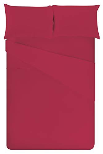 Galileo Casa 5900348 Bettwäsche-Set für Doppelbett, Bordeaux, Baumwolle, Rot, NO