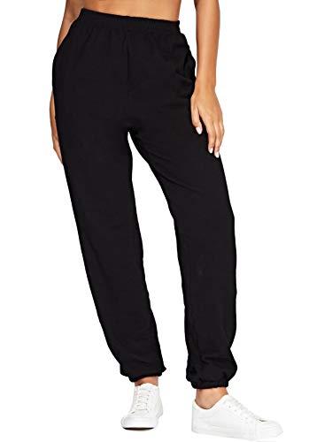 SOLY HUX Mujer Pantalones de chándal elástico con Bolsillos, Botones, con Franjas Rayas