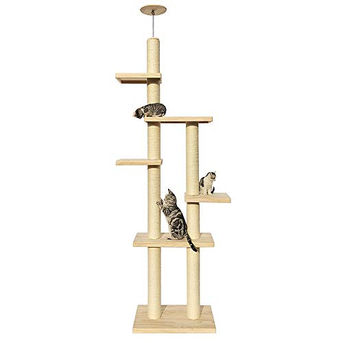 Cat Activity Trees Cat Play Tower Pet Supplies Cat Climbing Frame Solid Wood Double Row Through Tianzhu Cat Shelf Activity Center Large Sisal Cat Scratching Cat Cat Cave Cat House