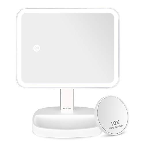 Auxmir Kosmetikspiegel mit LED Licht, Tischspiegel Rasierspiegel Schminkspiegel Beleuchtet mit Blendfreier Bleuchtung und Dimmbarer Helligkeit für Schminken, Rasieren und Gesichtspflege