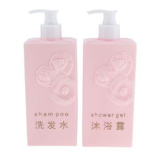 2pcs Leere Shampoo Flaschen Seifenspender Lotion Pumpflaschen Container 500 ml - Rosa