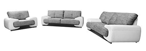 mb-moebel Polstergarnitur Sofa Set 3er & 2er & Sessel 3-2-1 Wohnlandschaft 3-Sitzer und 2-Sitzer Möbel Set - LORENTO (Weiß)