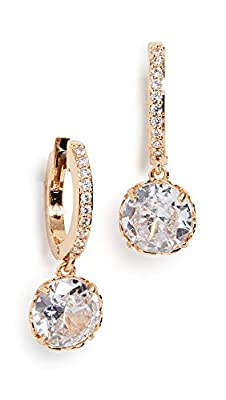 Kate Spade New York Women's Pave Huggie Earrings, Clear/Gold, One Size