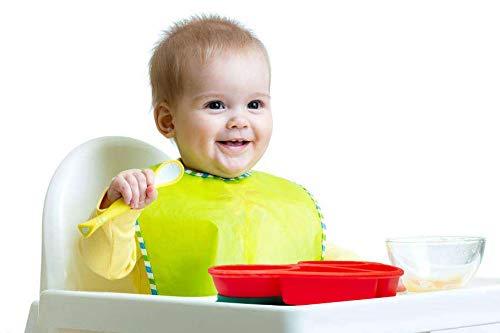 Qshare QShare Qshare乳幼児用のベビープレートお食事用ミニマット 赤ちゃんランチョンマット離乳食 食器 ピッタリ吸着 ひっくり返らない 幼児 子供 適用 BPAフリー 滑り止め シリコン製ベビー食器 2ミニ-車, レッド-車