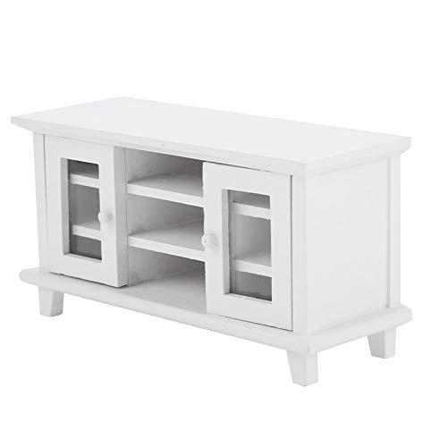Muebles de casa de muñecas, 1:12 muebles de casa de muñecas en miniatura modelo de almacenamiento de madera armario de TV accesorios de decoración de casa de muñecas(Blanco)