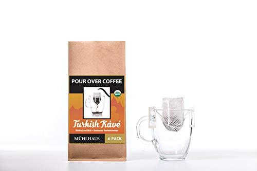 POUR OVER COFFEE, Turkish Kávé (Distinct and Bold, Guatemala Huehuetenango), Worlds Most Advanced Portable Organic Coffee (8 Pack)