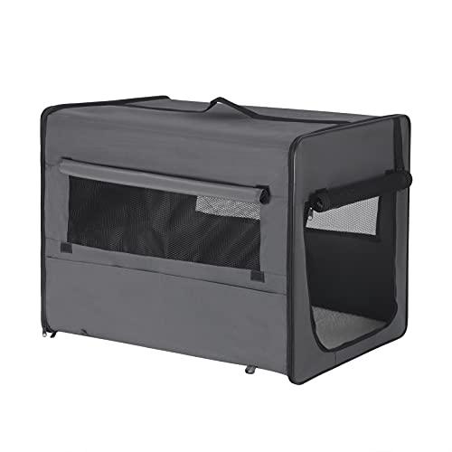 EUGAD Hundebox faltbar Hundetransportbox Auto Transportbox Reisebox Katzenbox Grau M 61x46x51cm 0338GL