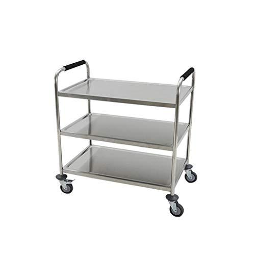 Flashing RVS service-loopkat met drie planken, beweegbaar verzamelende auto, keuken gereedschapswagen, montagekat