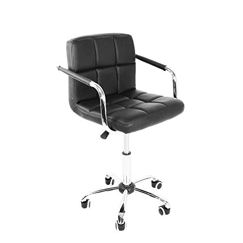 2 unidades, silla de oficina giratoria de 360 grados, silla de escritorio ajustable, para juegos, color negro